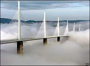 Millau Bridge in the clouds